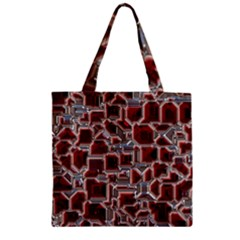 Metalart 23 Red Silver Zipper Grocery Tote Bags