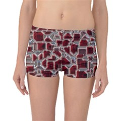 Metalart 23 Red Silver Boyleg Bikini Bottoms