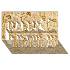 Flower Pattern In Soft  Colors Happy Birthday 3D Greeting Card (8x4)