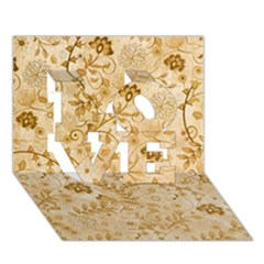 Flower Pattern In Soft  Colors Love 3d Greeting Card (7x5)
