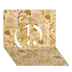 Flower Pattern In Soft  Colors Peace Sign 3D Greeting Card (7x5)