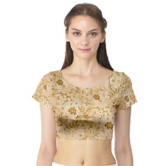Flower Pattern In Soft  Colors Short Sleeve Crop Top