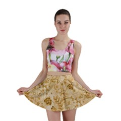 Flower Pattern In Soft  Colors Mini Skirts