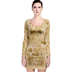 Flower Pattern In Soft  Colors Long Sleeve Bodycon Dresses