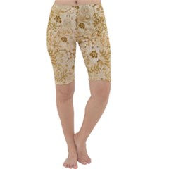 Flower Pattern In Soft  Colors Cropped Leggings