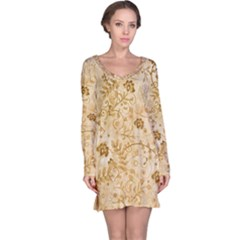 Flower Pattern In Soft  Colors Long Sleeve Nightdresses