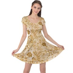 Flower Pattern In Soft  Colors Cap Sleeve Dresses
