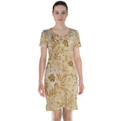 Flower Pattern In Soft  Colors Short Sleeve Nightdresses