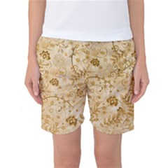 Flower Pattern In Soft  Colors Women s Basketball Shorts