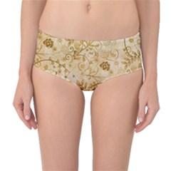 Flower Pattern In Soft  Colors Mid-Waist Bikini Bottoms