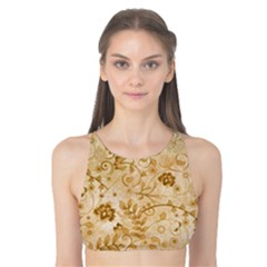 Flower Pattern In Soft  Colors Tank Bikini Top