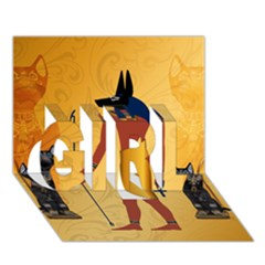 Anubis, Ancient Egyptian God Of The Dead Rituals  Girl 3d Greeting Card (7x5)