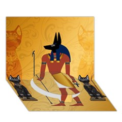 Anubis, Ancient Egyptian God Of The Dead Rituals  Circle Bottom 3d Greeting Card (7x5)