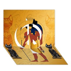Anubis, Ancient Egyptian God Of The Dead Rituals  Peace Sign 3d Greeting Card (7x5)