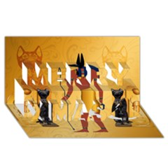 Anubis, Ancient Egyptian God Of The Dead Rituals  Merry Xmas 3D Greeting Card (8x4)