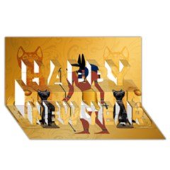 Anubis, Ancient Egyptian God Of The Dead Rituals  Happy New Year 3D Greeting Card (8x4)