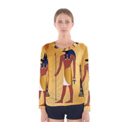 Anubis, Ancient Egyptian God Of The Dead Rituals  Women s Long Sleeve T Shirts