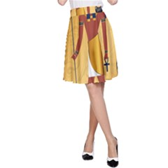 Anubis, Ancient Egyptian God Of The Dead Rituals  A-Line Skirts