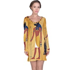 Anubis, Ancient Egyptian God Of The Dead Rituals  Long Sleeve Nightdresses