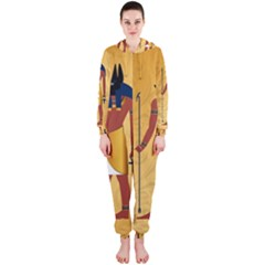 Anubis, Ancient Egyptian God Of The Dead Rituals  Hooded Jumpsuit (ladies)