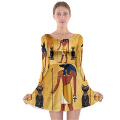 Anubis, Ancient Egyptian God Of The Dead Rituals  Long Sleeve Skater Dress