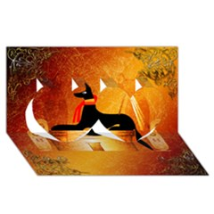 Anubis, Ancient Egyptian God Of The Dead Rituals  Twin Hearts 3D Greeting Card (8x4)