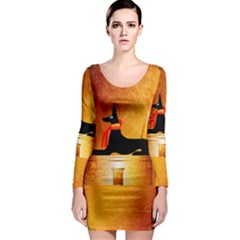 Anubis, Ancient Egyptian God Of The Dead Rituals  Long Sleeve Bodycon Dresses
