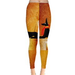 Anubis, Ancient Egyptian God Of The Dead Rituals  Winter Leggings