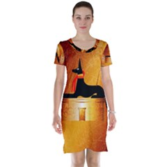 Anubis, Ancient Egyptian God Of The Dead Rituals  Short Sleeve Nightdresses