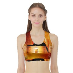 Anubis, Ancient Egyptian God Of The Dead Rituals  Women s Sports Bra with Border