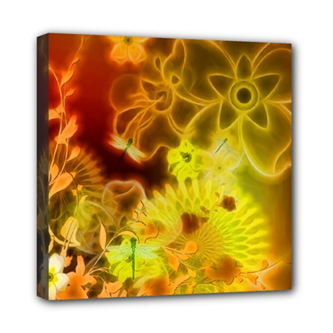 Glowing Colorful Flowers Mini Canvas 8  x 8