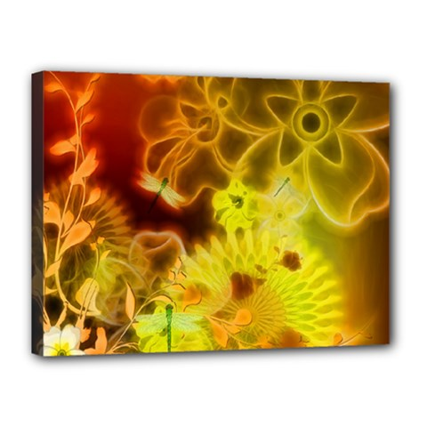 Glowing Colorful Flowers Canvas 16  x 12