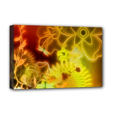 Glowing Colorful Flowers Deluxe Canvas 18  X 12
