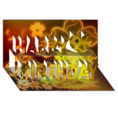 Glowing Colorful Flowers Happy Birthday 3D Greeting Card (8x4)