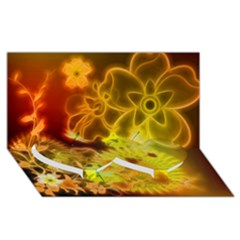 Glowing Colorful Flowers Twin Heart Bottom 3d Greeting Card (8x4)