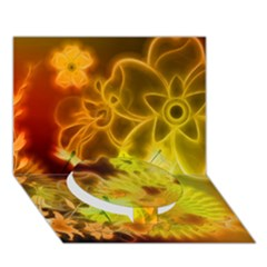 Glowing Colorful Flowers Circle Bottom 3D Greeting Card (7x5)