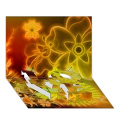 Glowing Colorful Flowers LOVE Bottom 3D Greeting Card (7x5)