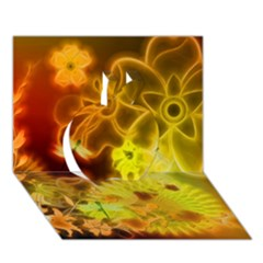Glowing Colorful Flowers Apple 3D Greeting Card (7x5)