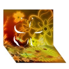 Glowing Colorful Flowers Clover 3d Greeting Card (7x5)