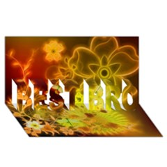 Glowing Colorful Flowers BEST BRO 3D Greeting Card (8x4)