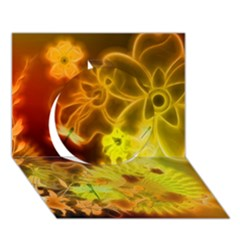 Glowing Colorful Flowers Circle 3d Greeting Card (7x5)