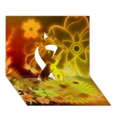 Glowing Colorful Flowers Ribbon 3D Greeting Card (7x5)