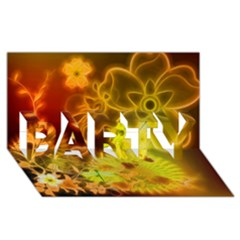 Glowing Colorful Flowers PARTY 3D Greeting Card (8x4)