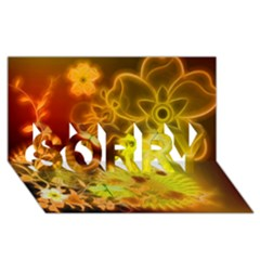 Glowing Colorful Flowers Sorry 3d Greeting Card (8x4)
