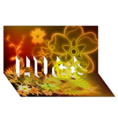 Glowing Colorful Flowers Hugs 3d Greeting Card (8x4)