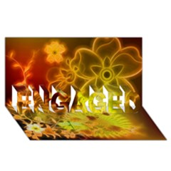 Glowing Colorful Flowers Engaged 3d Greeting Card (8x4)