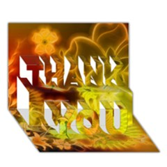 Glowing Colorful Flowers Thank You 3d Greeting Card (7x5)