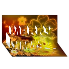 Glowing Colorful Flowers Merry Xmas 3D Greeting Card (8x4)