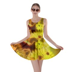 Glowing Colorful Flowers Skater Dresses