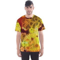 Glowing Colorful Flowers Men s Sport Mesh Tees